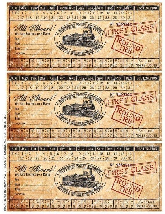 Customized Printable Vintage Train Ticket Birthday Invitation: emsquared studio, Rochester, Minnesota, Etsy