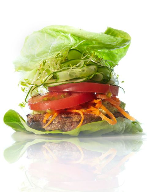 For afternoons at home, heat up the store-bought veggie burger of your choice — Beller likes those from Amy's, Trader Joe's and Dr. Prager's — and top with tomato, red onion, and cucumber. Wrap in a few lettuce leaves, and if you like, top with a squirt of mustard.