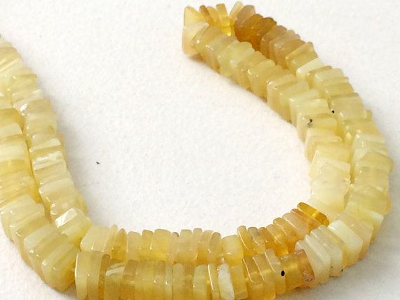 Yellow Opal Beads Yellow Opal Plain Square Heishi by gemsforjewels