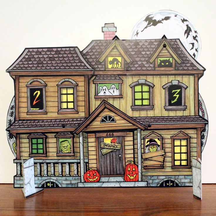 Halloween Countdown Advent Calendar - Haunted House with spinning wheels to change the date by ArdentlyCrafted on Etsy https://www.etsy.com/ca/listing/251184548/halloween-countdown-advent-calendar