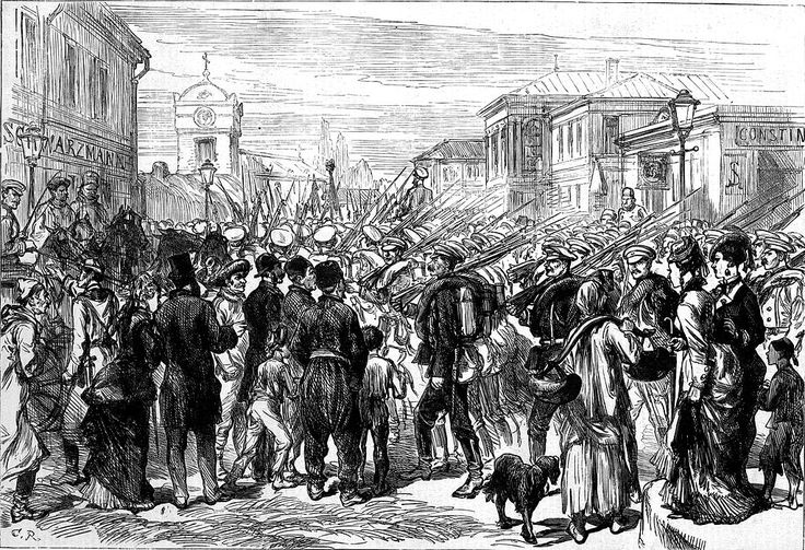 Russian Army in Bucharest, The Illustrated London News, 1877.jpg