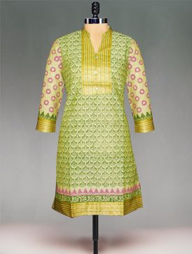 Classic pastel green color Mangalagiri handloom cotton at its best,this green block printed 3/4th sleeves Kurta will make hearts flutter.It has a detailed mangalagiri handloom borders.Complete the look with a contrast churidar and dupatta. To purchase online mangalagiri handloom cotton kurtas please visit our site http://www.unnatisilks.com
