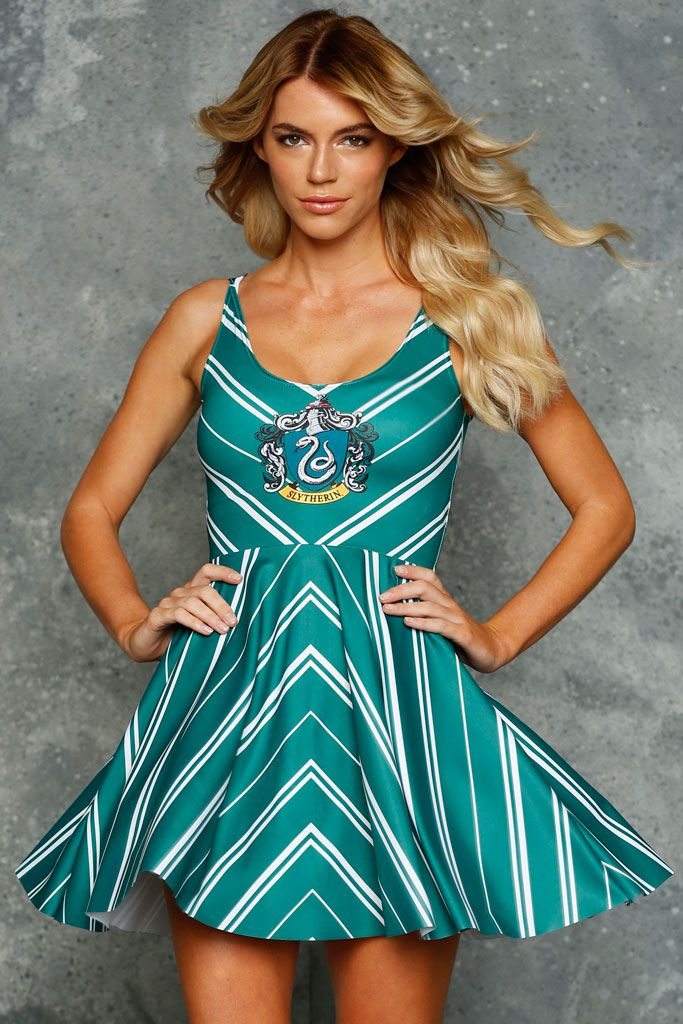 Slytherin Scoop Skater Dress ($95AUD) by BlackMilk Clothing