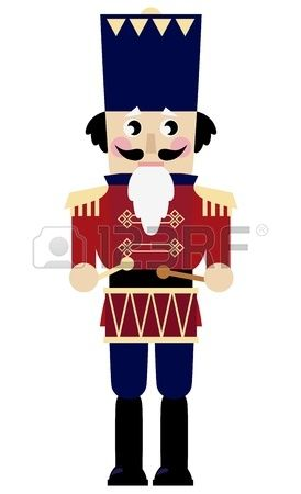 Tin soldier or Nutcracker with drum. Vector Illustration