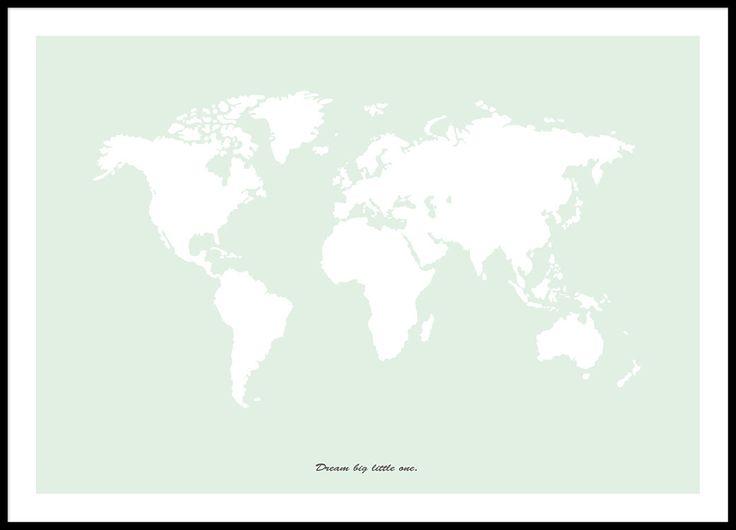 Lysegrøn plakat med verdenskort.