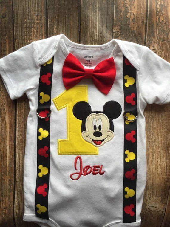 Mickey Mouse-Bodysuit mit Geburtstagskleidern für Jungen mit Trägern und Fliege, klassischer Mickey-Mouse-Klassiker zuerst, Mickey-erster Geburtstag, Mickey-Party