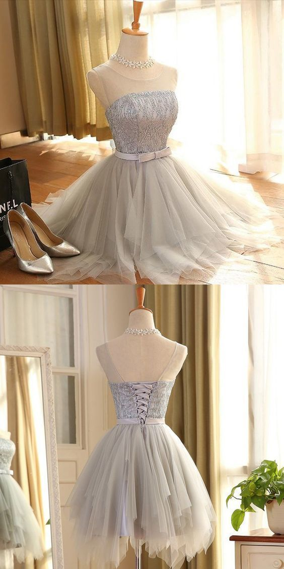 A-Line Silver Gray Short Satin Homecoming Dress with Lace LP600