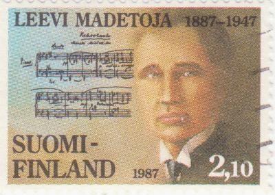 Postage stamp depicting Finnish composer Leevi Madetoja, 1987
