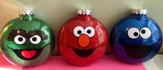 Sesame Street Inspired Ornaments Oscar The Grouch Cookie Monster Elmo Purchase The Christmas Ornaments Custom Christmas Ornaments Christmas Ornaments Homemade