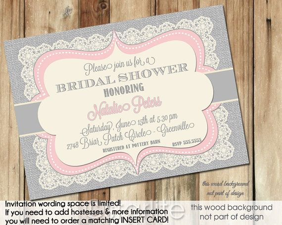 74 best bridal shower invitations images on pinterest bachelorette pink gray grey vintage lace burlap bridal shower invitation 5x7 printable invitation design filmwisefo Image collections