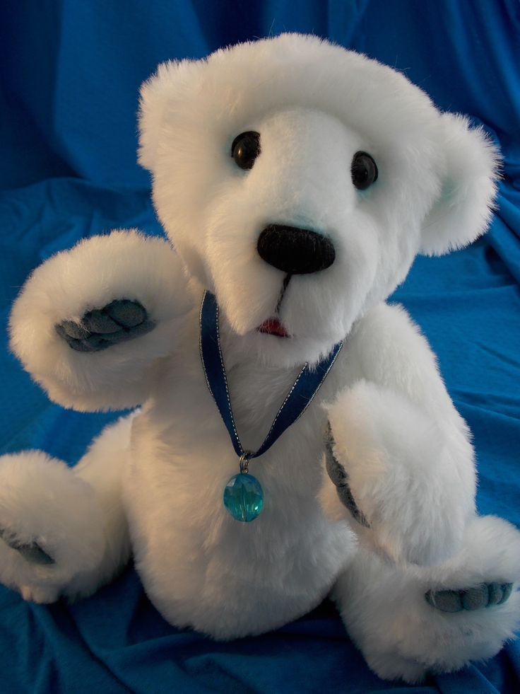 """Here comes Nanuk the little polar bear. Did you know that his name """"Nanuk"""" means """"Bear"""" in Inuit language? Nanuk is made from a luxuoux Fashion Faux Fur. He is 6X jointed and has an open mouth. Nanunk is slightly weighted and is handmade. For more info please viste our facebook page Oursons et Gros Calins #polar#bear#teddy#ourson#handmade#certificate#ooak#unique#collectible"""