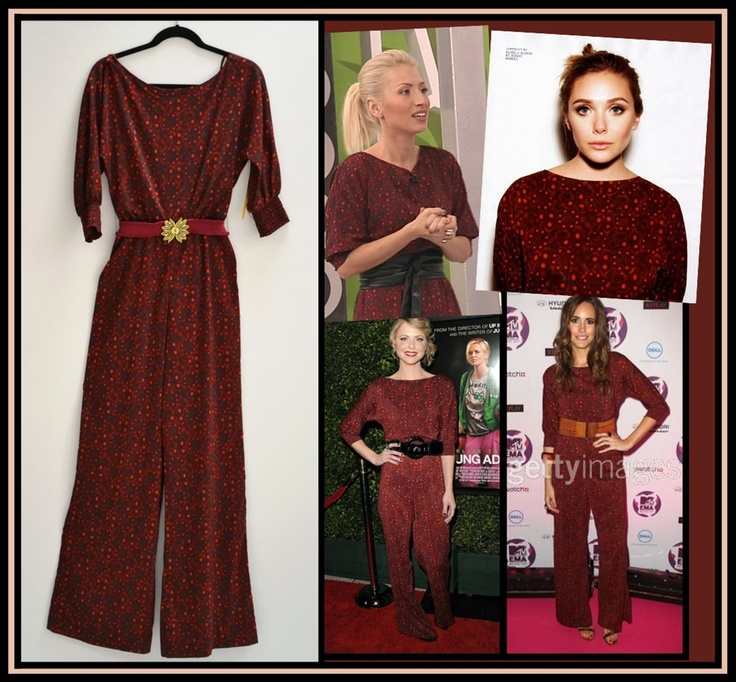 Alice + Olivia Leiby Jumpsuit. Seen on Elizabeth Olsen, Collette Wolfe and Louise Roe. NewChicBoutique.com