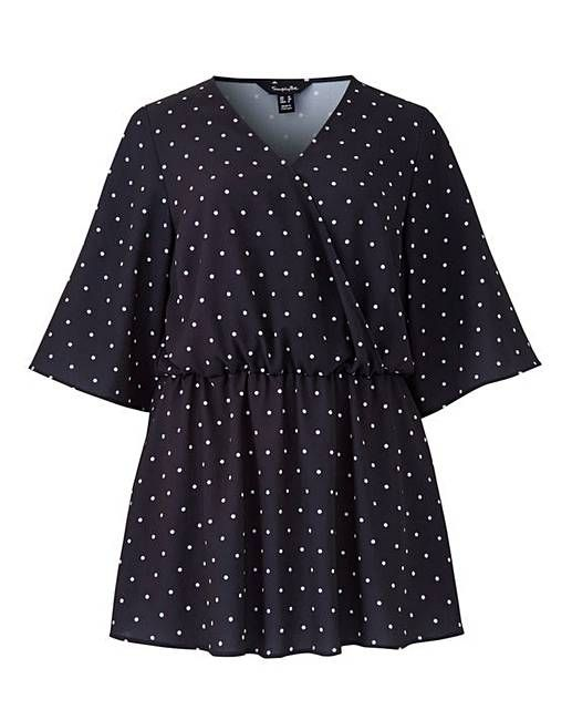 ac306fbfb33d8 Black Spot Short Sleeve Wrap Top | Simply Be | Clothes Wishlist in ...