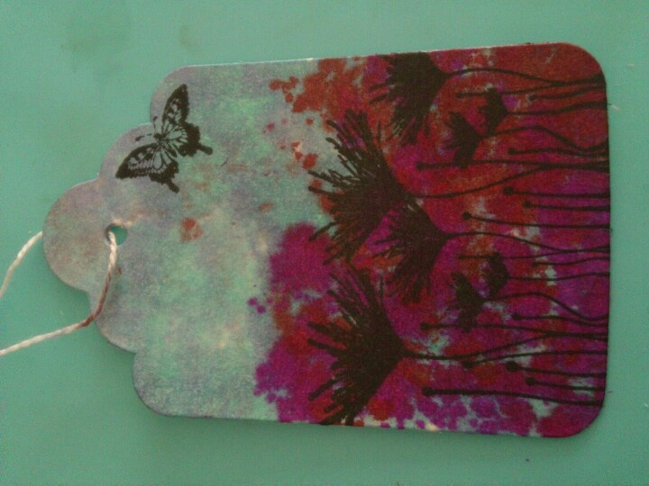 One of my first attempt with stamps and Tim Holtz Alcohol  inks