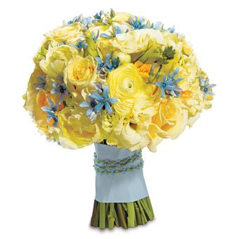 Bouquet of tweedia, tulip verona, Sandy Femma roses, cream lisianthus and narcissus, $350, by Lisa Moreta for Paisley NY, paisleyny.com.