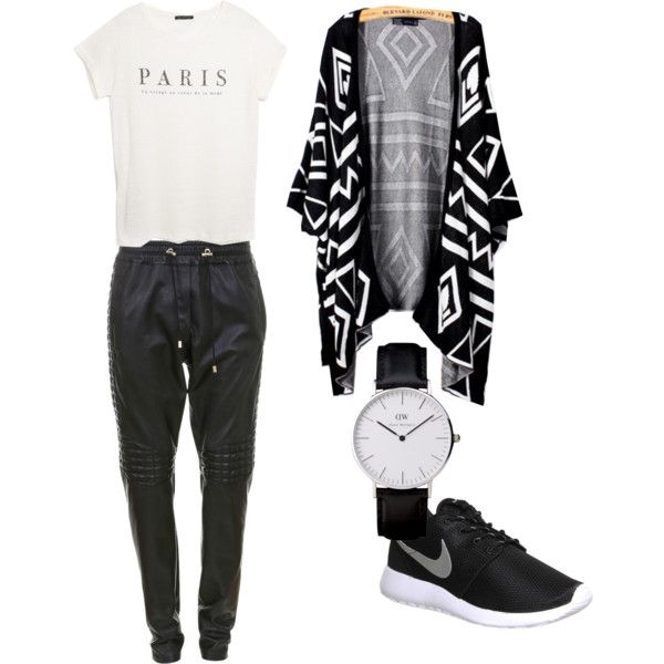 Black&white by fromnorah on Polyvore featuring MANGO, Balmain and NIKE