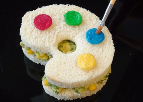 Lots of fun sandwich ideas here, including monster foot, smile and mustache.