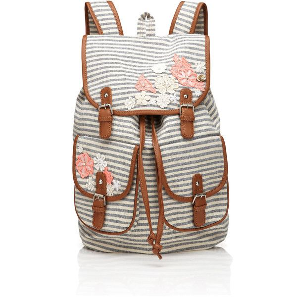 Accessorize Washed Stripe & Lace Rucksack ($29) ❤ liked on Polyvore featuring bags, backpacks, navy, flower backpack, stripe backpack, accessorize bags, navy backpack and drawstring bag