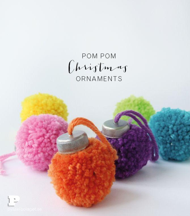 Make Pom Pom Ornaments for Christmas