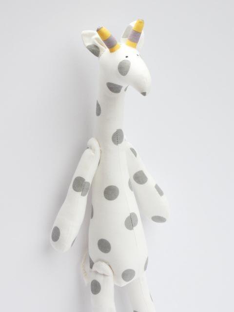 White gray giraffe toy handmade plush softie stuffed giraffe