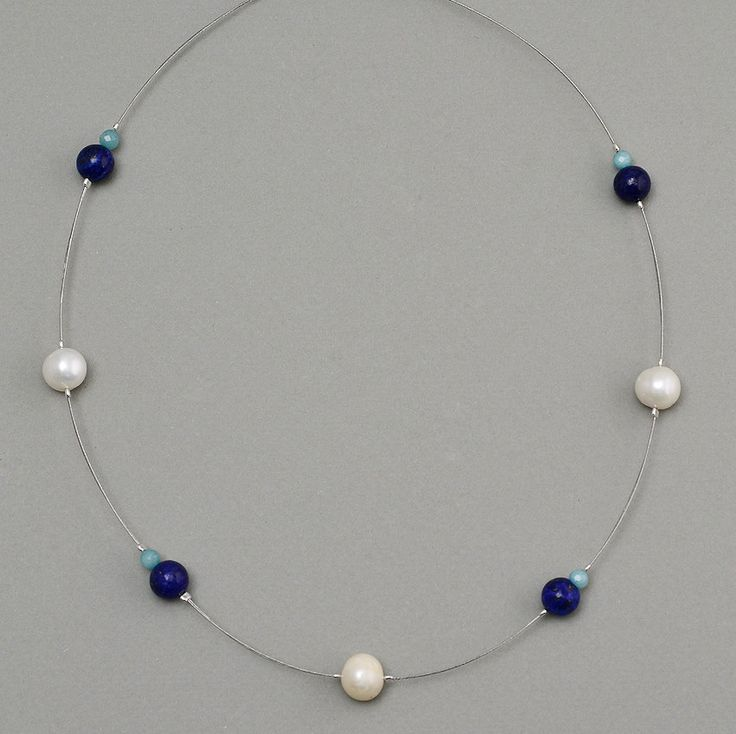 Double iron necklace with pearls and lapis lazuli by NataliaNorenasilver on Etsy