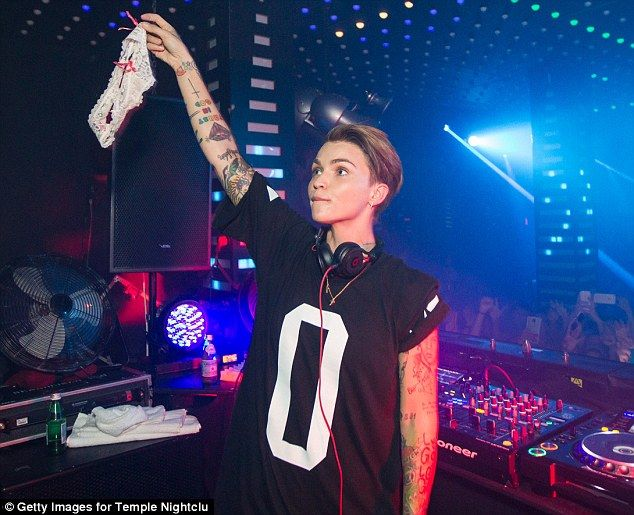 Tour life: Ruby Rose caught a pair of panties that were thrown at her while she performed on her North American tour on Friday atSan Francisco's Temple Nightclub