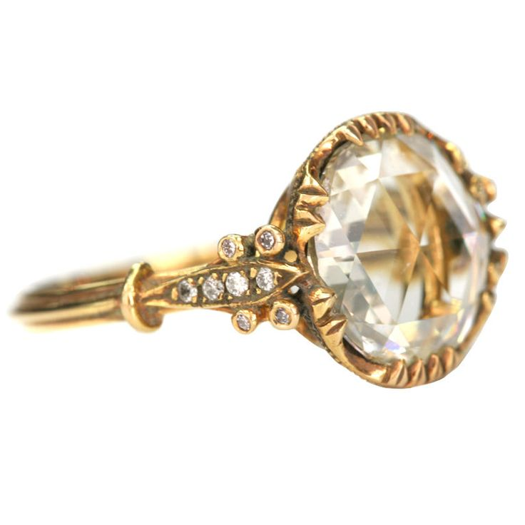 """1920, Hand crafted Rose cut diamond ring. The center stone is 2.20cts KSI1 set in 18kt yellow gold hand crafted """"Single Stone"""" mounting with old European cut diamond accents."""