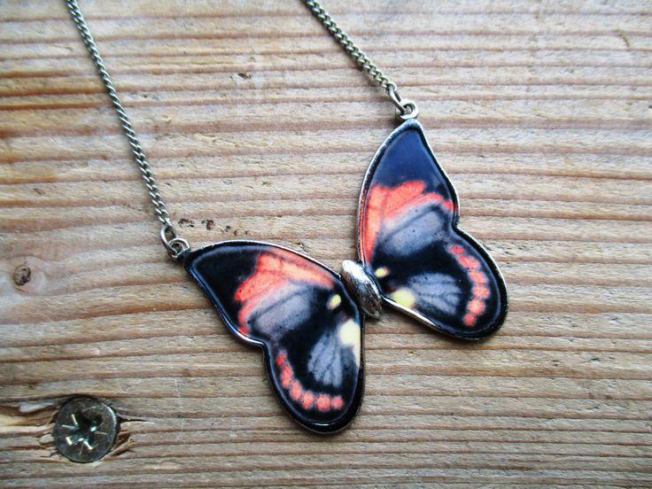 VINTAGE! vlinder ketting door EarlybirdiesNL op Etsy