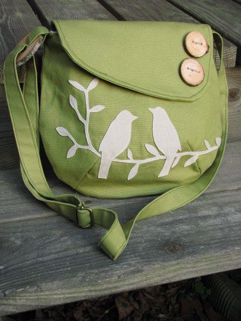 Small Tweeting Birds Purse /Tote /Handbag / Handmade von LBArtworks