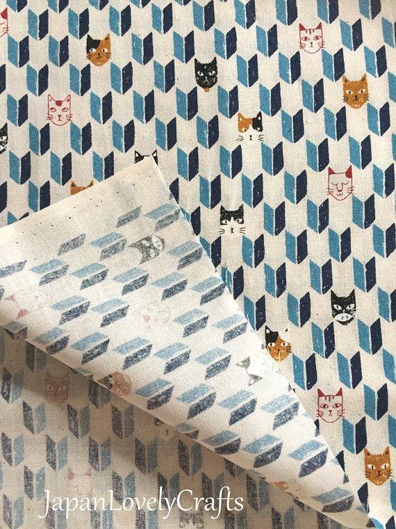 Japanese Cotton Fabric, Kawaii Cats & Traditional Yagasuri, Animal Print Fabric, Half Yard / 50cm, Sewing Supply, Blue, jf20
