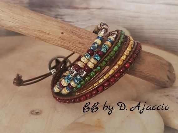 leather and Miyuki green Multi-link cuff in leather and rockery beads Picasso Skinny Wrap bracelet blue beige Picasso