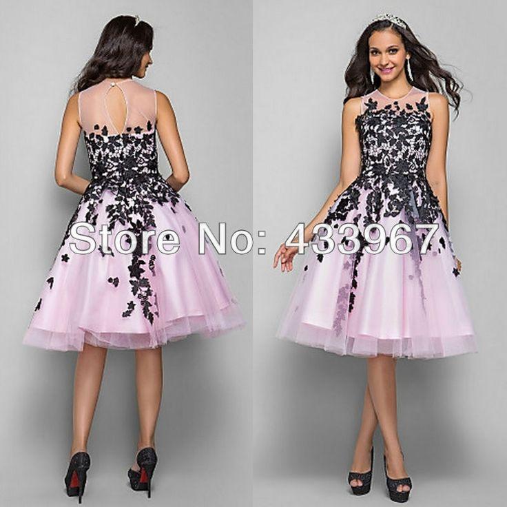 Pink And Black Applique Jewel Neckline A Line Knee Length Sleeveless Keyhole Back Sweet 16 Dress Cute Graduation Dresses