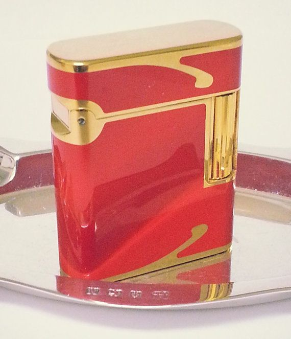 100 % AUTHENTIC  S.T. DUPONT LIGHTER, SOUBRENY, 18 K GOLD PLATE AND LACQUER de CHINE RED  PLEASE SEE ALL PICTURES FOR CONDITION. THERE ARE