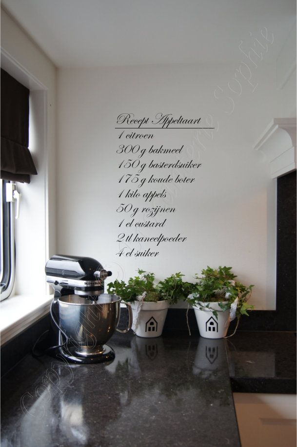Muurstickers Keuken Appeltaart : Appeltaart Sierletters: Muur Teksten, Keuken Decoratie, Kitchens Wall
