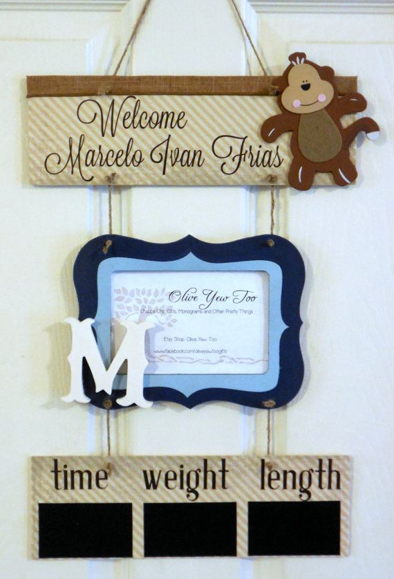 12 x 21 Blue and Tan Welcome Baby Boy Monkey by OliveYewToo