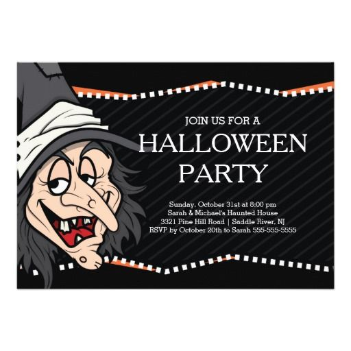52 best halloween party invitations images on pinterest halloween spooky witch halloween party invitation stopboris Choice Image