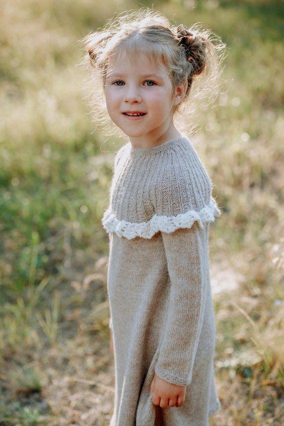 253be7ee4 Beige hand knit winter dress for girls