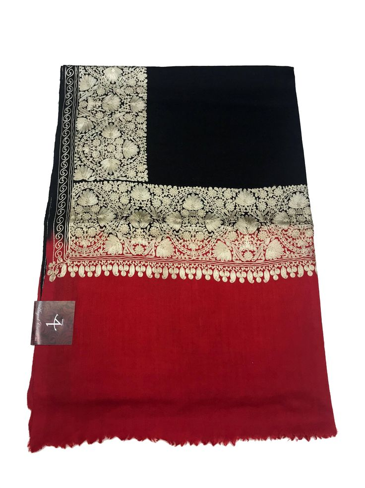 Double Shaded Pure Wool Silk Thread Embroidered Scarf/Shawl, Kashmiri Embroidery, Women Scarf, Stole, Wrap, Silk Embroidery, Kashmiri Shawl by AngadCreations on Etsy #Black #red #double #shaded #kashmiri #silk #thread #embroidered #women #shawl #india #wrap #pure #wool #fine #warm #winter #faun #traditional #girl #Scarf #Kashmir #indian #wear #fashion #accessories