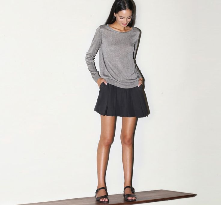 February 2014: A.P.C. Chic Knit in Gris. Alexander Wang Irregular Pleat Mini Skirt in Liquorice. A.P.C. Roma Sandals in Black.