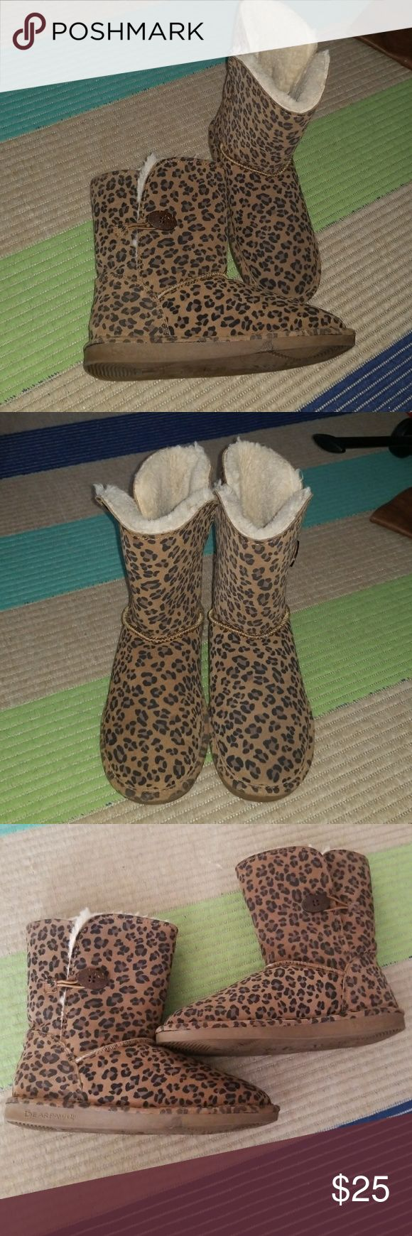 Bear paw cheetah fur (like ugg) winter snow boots Cheetah leopard animal print winter boots. Like new. Worn 2x. BearPaw Shoes Winter & Rain Boots