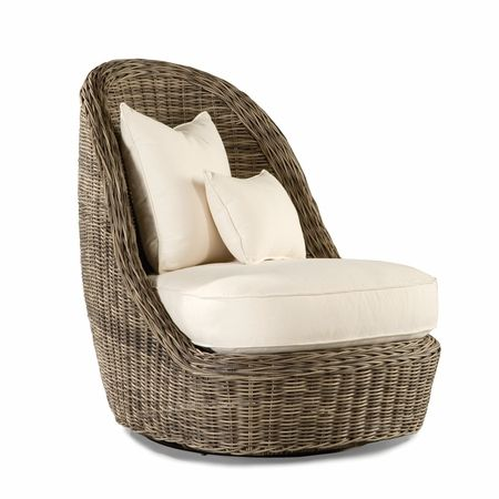 Summer Garden Outdoor Wicker Swivel Lounge Chair