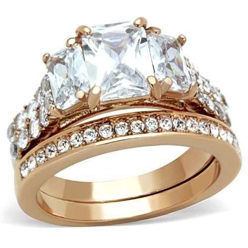 Wedding Ring Set Stainless Steel Emerald Shape Cubic Zirconia Rose Gold Tone 3 Stone Size SPJ