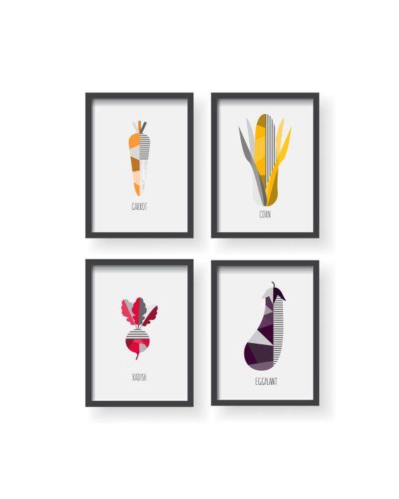Vegetable Geometric Decor Veggie Kitchen Print Veggies Wall Art Vegetables
