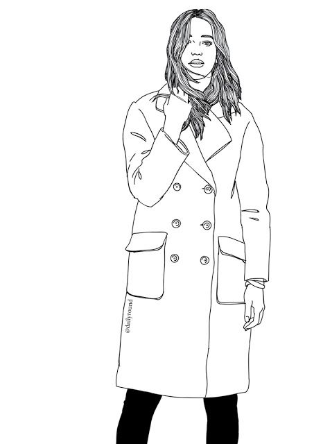 Fashion illustration, girl, coat, street style, paintings
