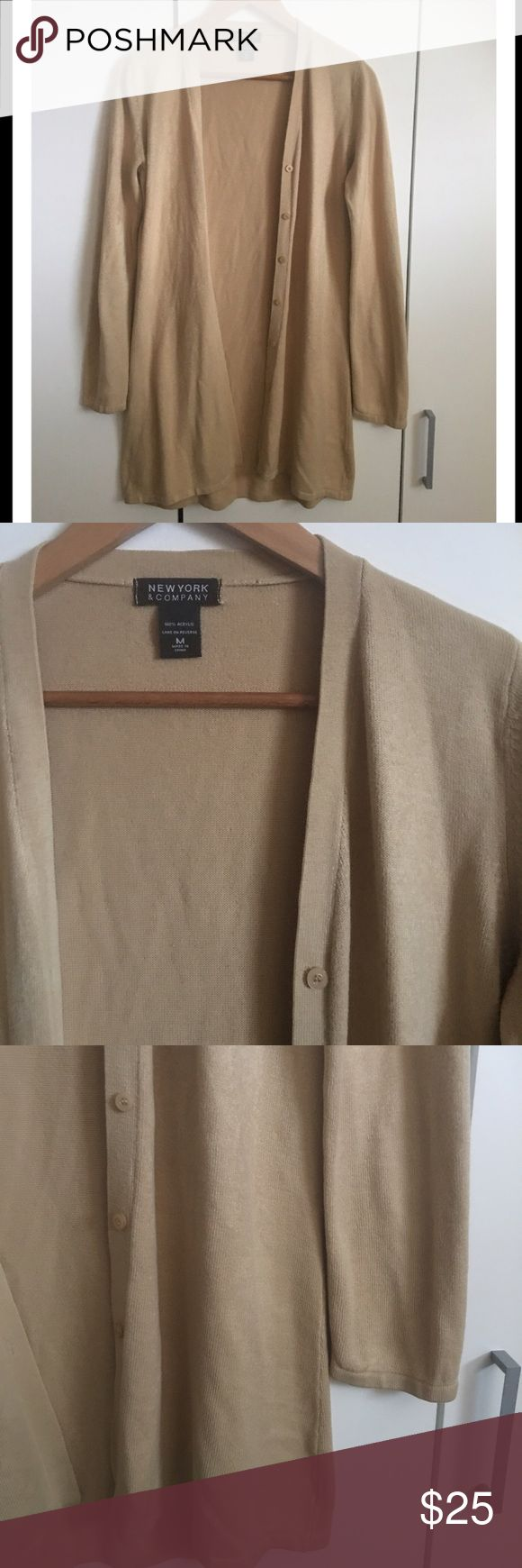 """💥FINAL💥New York & Co. Long Camel Cardigan Beautiful & versatile. Great shape! New York & Co long Camel/tan button down Cardigan. Very soft acrylic. So on trend. Classic. Length 32"""". New York & Company Sweaters Cardigans"""