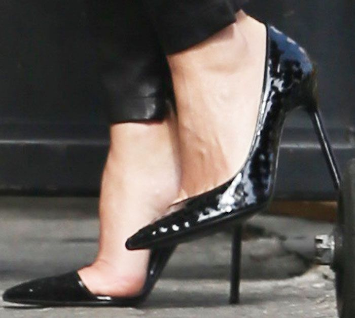 "Keri Russell showed off her feet in embossed Saint Laurent ""Anja"" pumps"