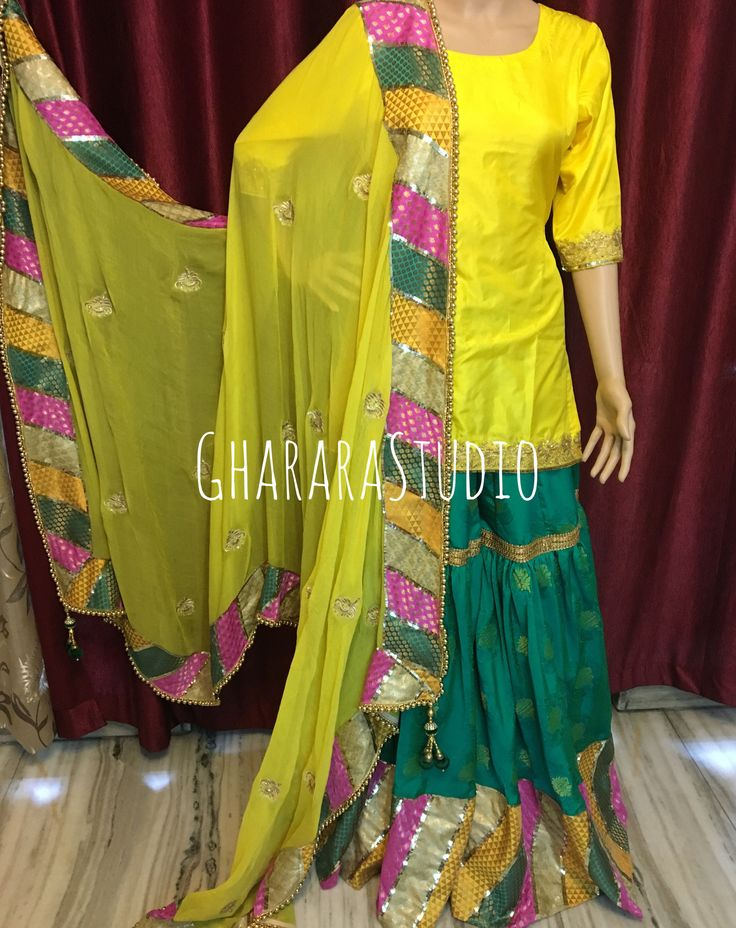Chatapati Gharara in Green & Yellow.   #Gharara #ghararastudio #ghararastudiobyshazia #ghararadesign #ghararah #ghararafashion #ghararalove #ghararadesign #bridal #bride #wedding #weddingdress #weddings #nikah #fashion #fashionblogger #fashionstylist #fashiongram #fashionblog #blog #indianfashionblogger #indianfashion #indianstylist #indiandress #indiantradition #instafashion #haldigharara #manjhadress
