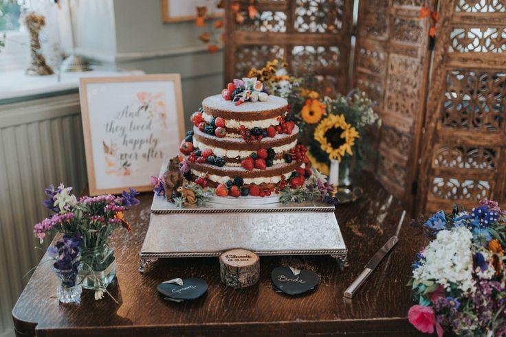 Homemade Naked Wedding Cake | Bai & Elle Weddings Photography & Film | Intimate Budget Wedding at The Secret Garden, Kent | DIY Decor | High Street Wedding Dress | Floral Lindybop Bridesmaid Dresses