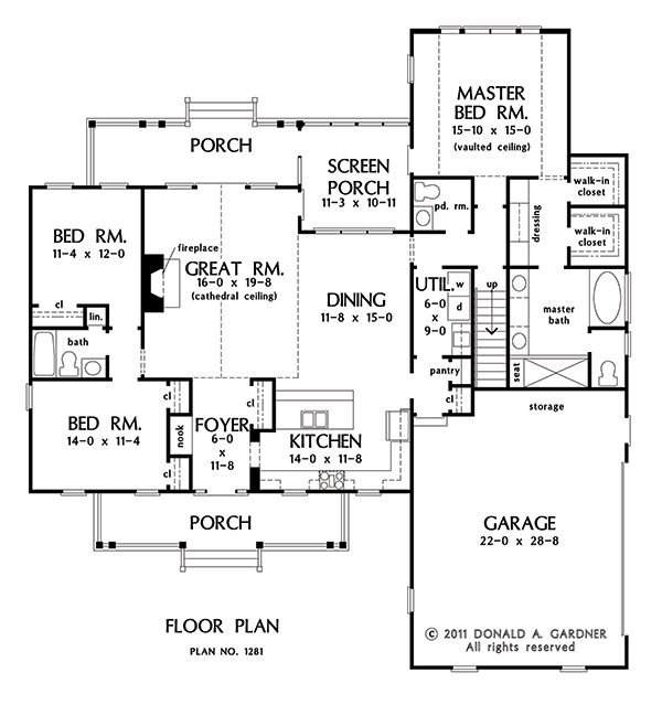 First floor plan of the powell house plan number 1281 - First floor master bedroom house plans ...