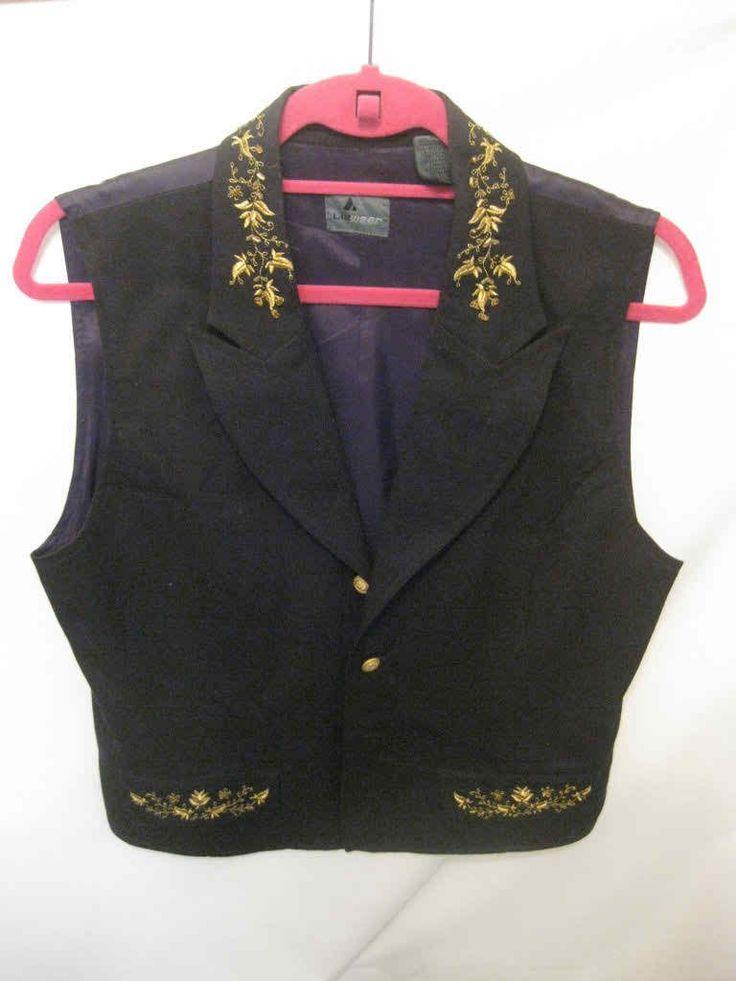 Woman's Medium Black and Gold Lizwear Vest